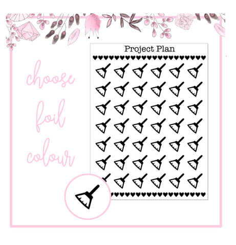 Foil Cleaning/Duster Icon Planner Stickers