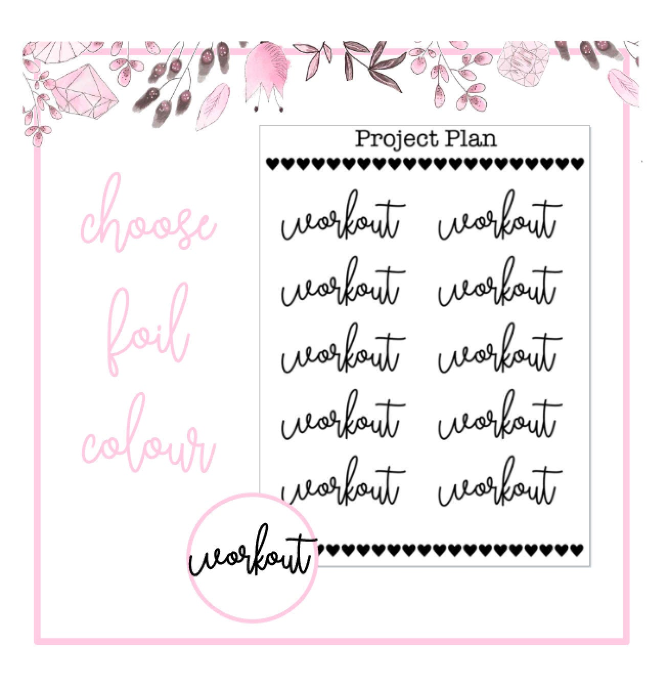 Foil Workout Script Planner Stickers