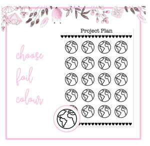 Foil Geography/Globe Icon Planner Stickers