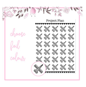 Foil Haircut Icon Planner Stickers | Choose Gold, Rose Gold, or Silver Foil