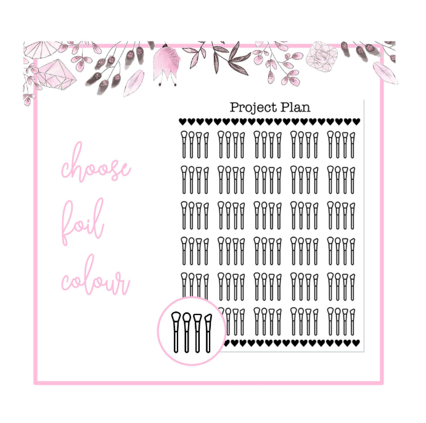 Foil Makeup Brushes Icon Planner Stickers | Choose Gold, Rose Gold, or Silver Foil