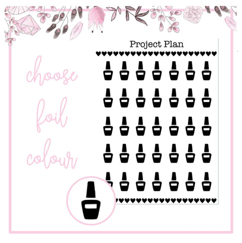 Foil Nail Polish Icon Planner Stickers