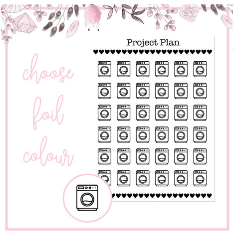 Foil Washing Machine Icon Planner Stickers