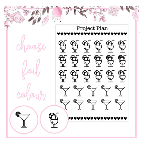 Foil Cocktail Icon Planner Stickers