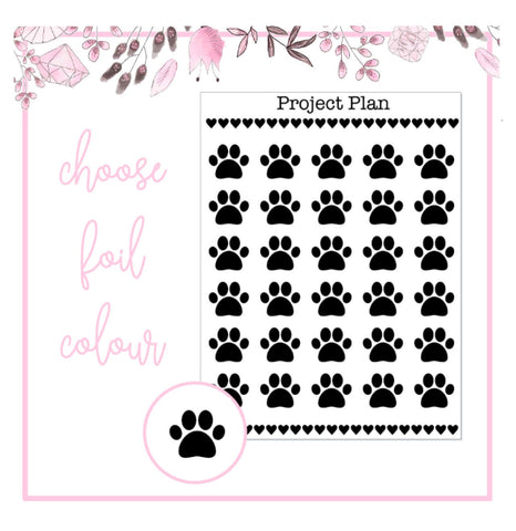 Foil Paw Print Icon Planner Stickers