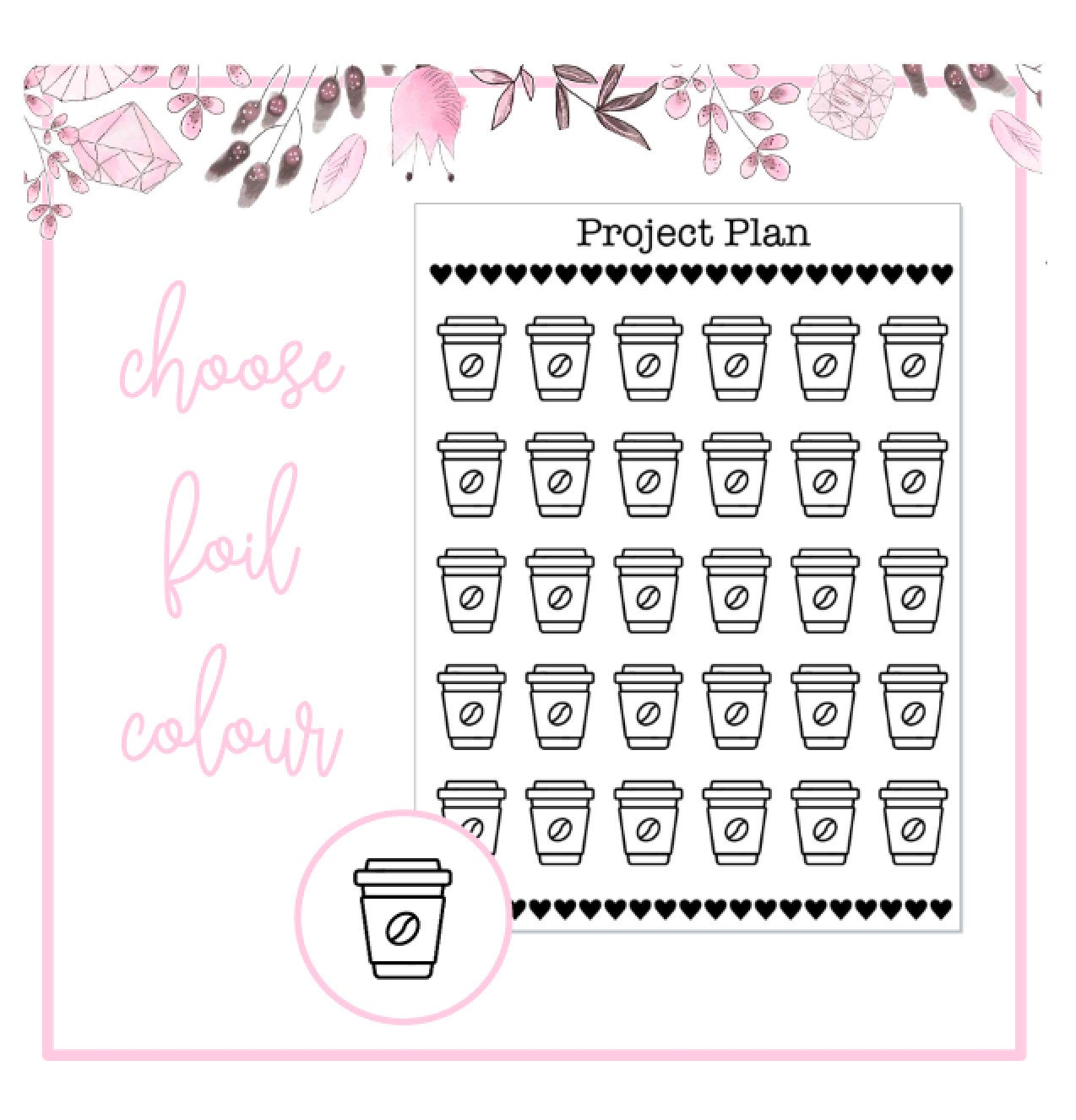 Foil Coffee Cup Icon Planner Stickers