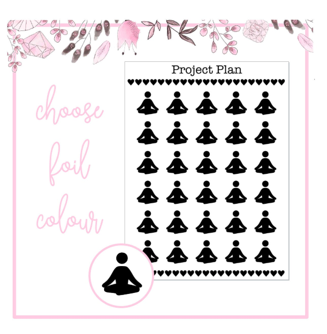 Foil Yoga Icon Planner Stickers