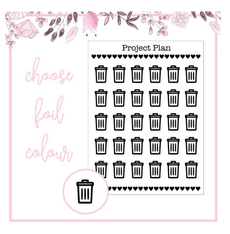 Foil Dustbin Icon Planner Stickers