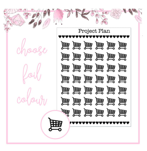 Foil Shopping Trolley Icon Planner Stickers