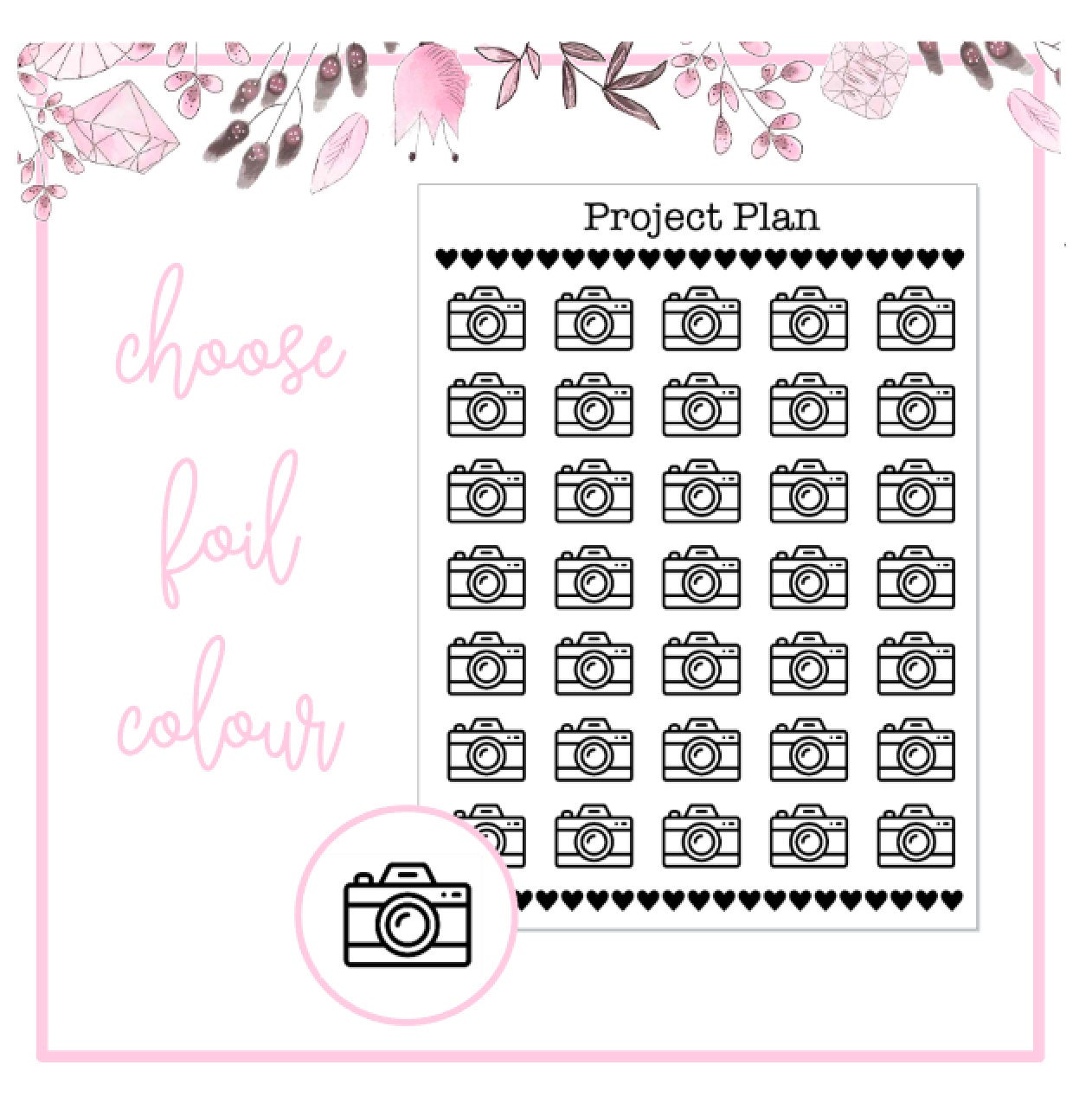 Foil Camera Icon Planner Stickers