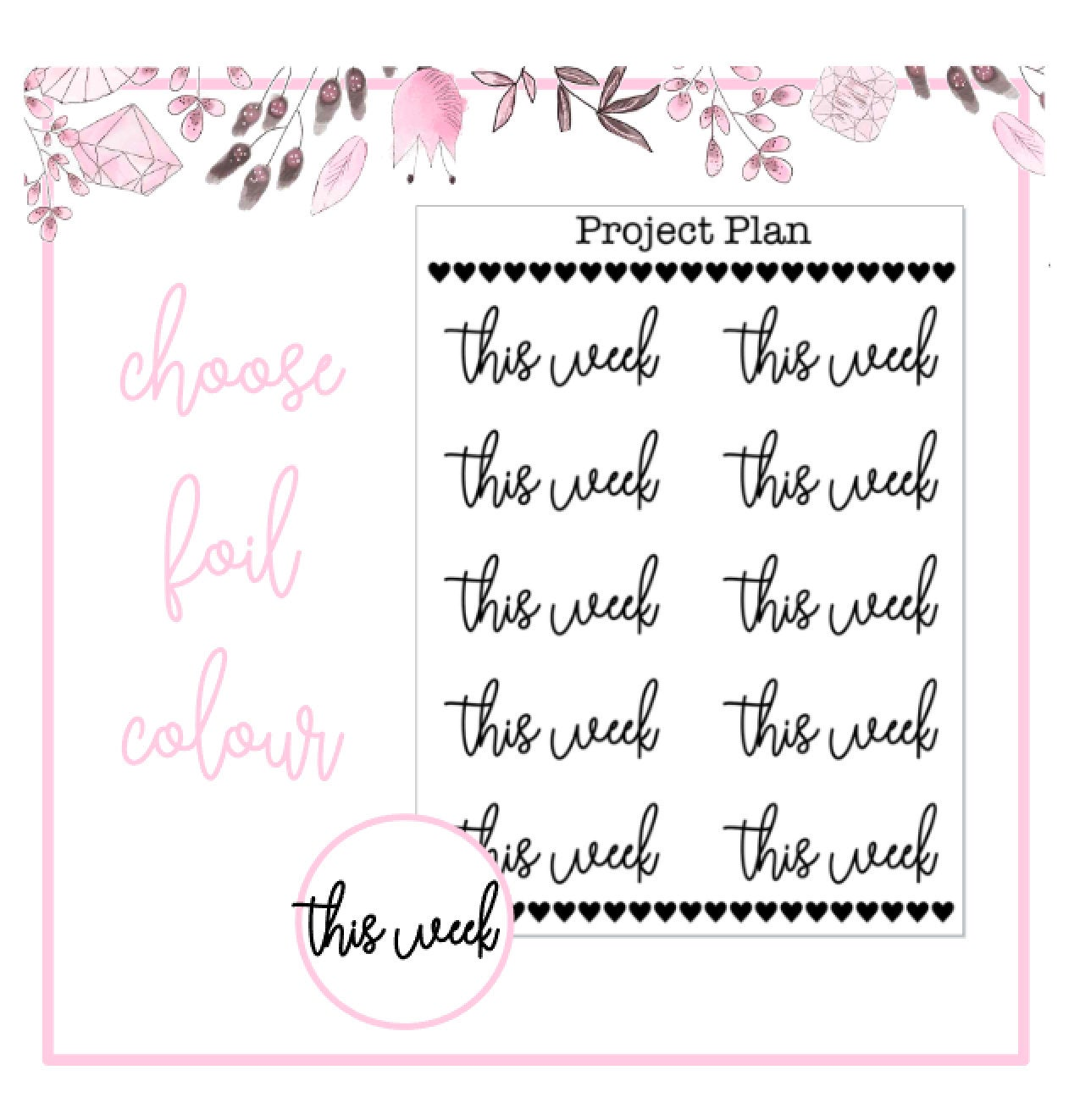 Foil This Week Script Planner Stickers