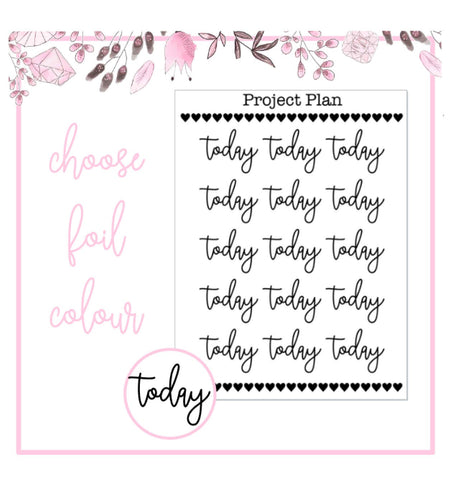 Foil Today Script Planner Stickers