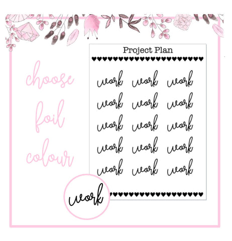 Foil Work Script Planner Stickers