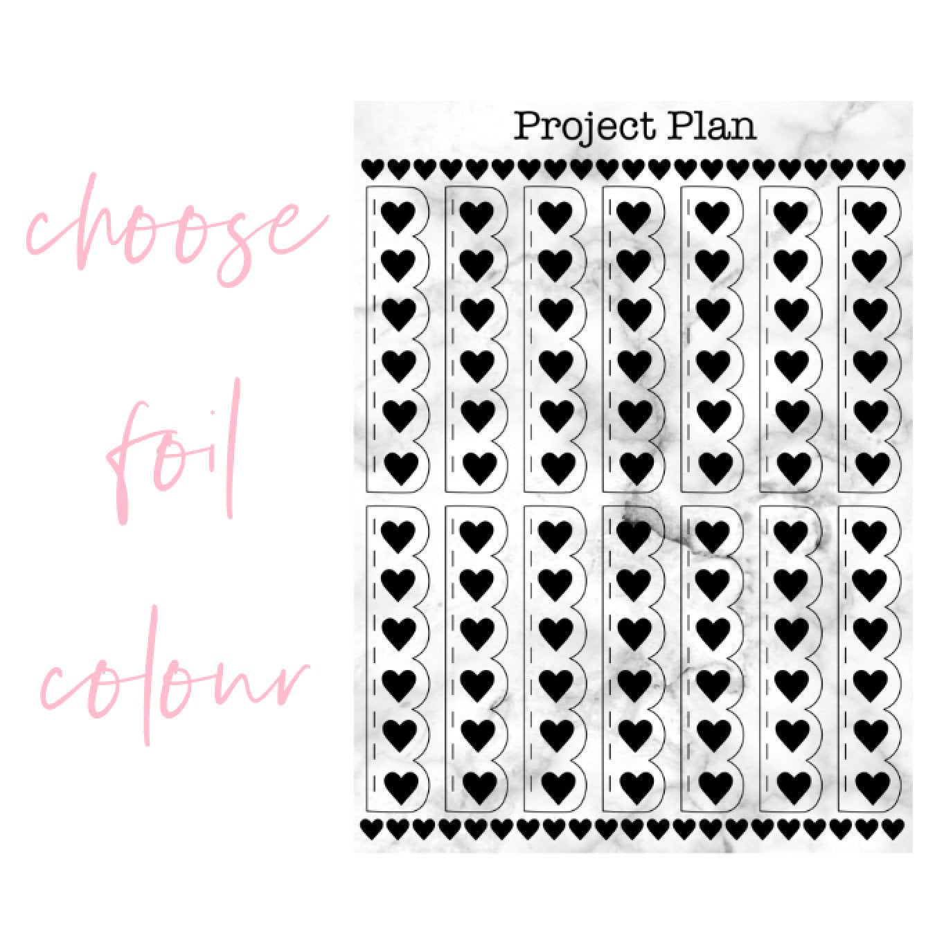 Scallop Heart Foil Checklists | Choose Gold, Silver, or Rose Gold