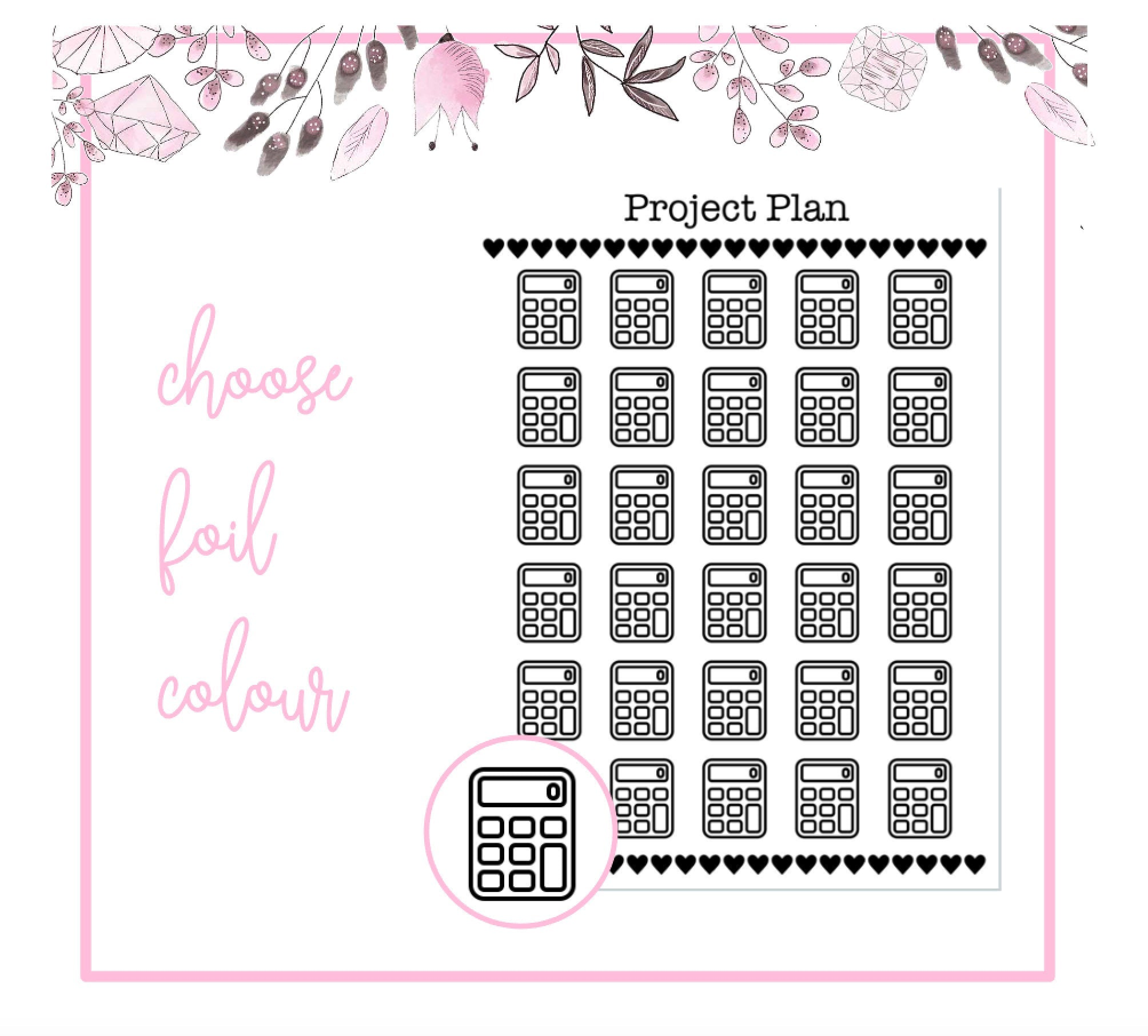 Foil Calculator/Maths Icon Planner Stickers