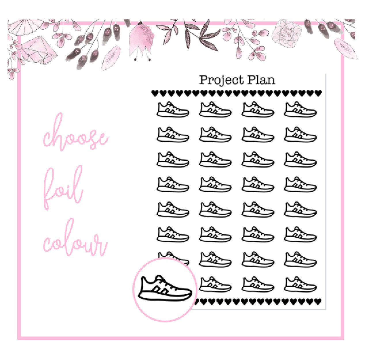 Foil PE/Trainer/Running Icon Planner Stickers