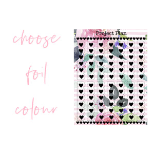Scallop Heart Foil Pink Floral Stripe Checklists
