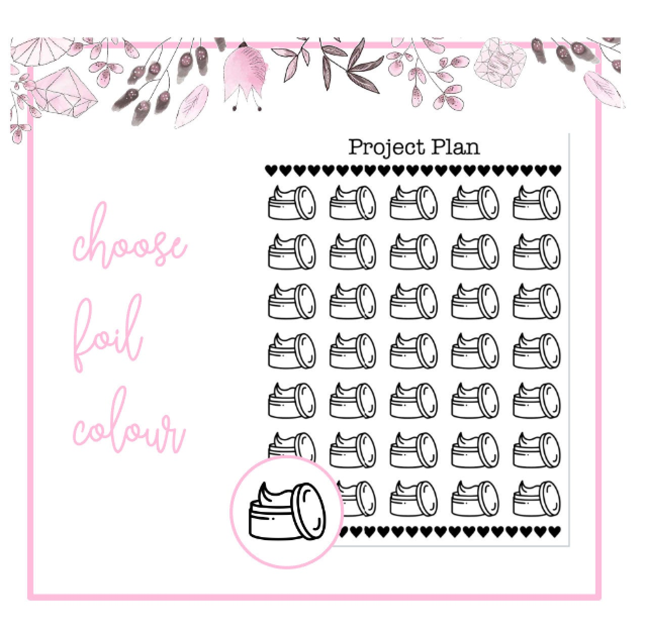 Foil Cream Icon Planner Stickers | Choose Gold, Rose Gold, or Silver Foil