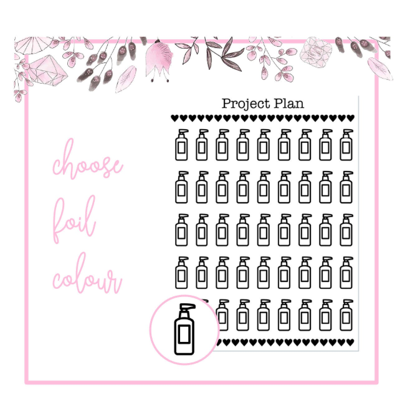 Foil Lotion Icon Planner Stickers | Choose Gold, Rose Gold, or Silver Foil