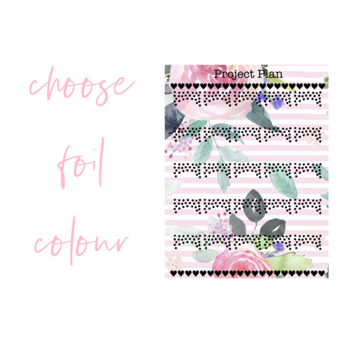 Confetti Pink Floral Stripe Foil Page Flags Planner Stickers