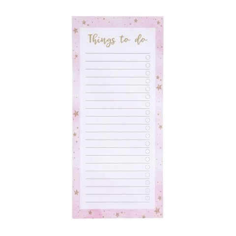 Scattered Stars Pink Magnetic Notepad by Sass and Belle