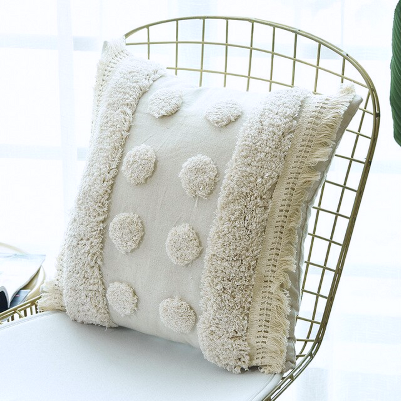 Ivory and Dots Tassels Moroccan Pillow Cover