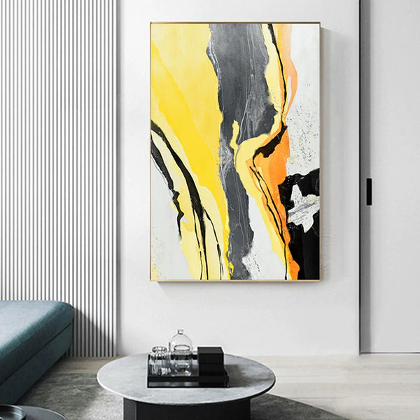 Amalla Yellow and Black Canvas Prints