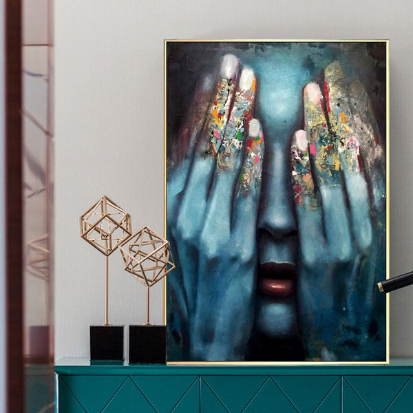Woman in Hiding Canvas Prints