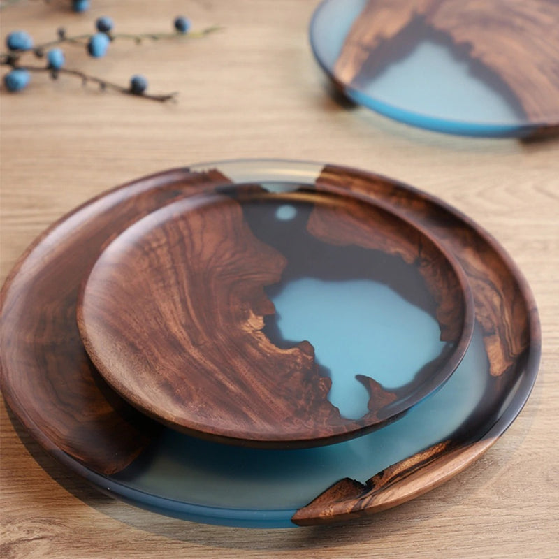 Sea River Wood and Resin Snack Plates