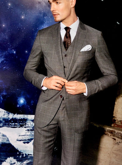 Blueburry Royale  Gray windowpane Suit