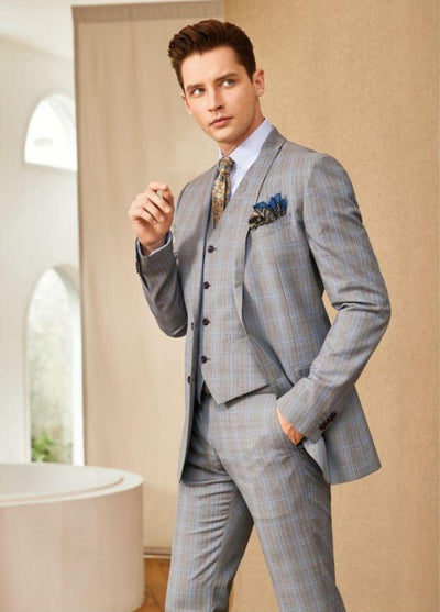Blueburry Royale beige Plaid Suit