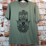 Marijuana Mandala Hamsa, used novelty shirt (S)