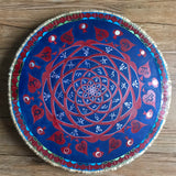 Planetary Spiral Zodiac Shield in Red and Blue