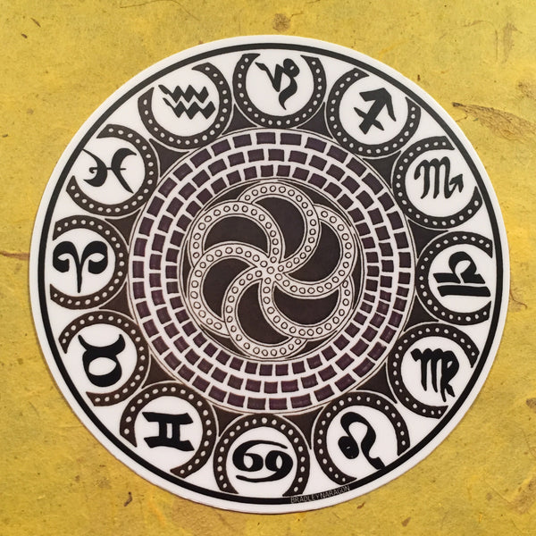 Black & White Zodiac Sticker 4""