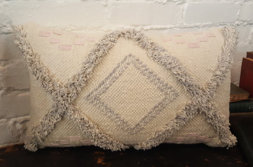 Lumbar Ivory/Gray Fringed Tribal Pillow