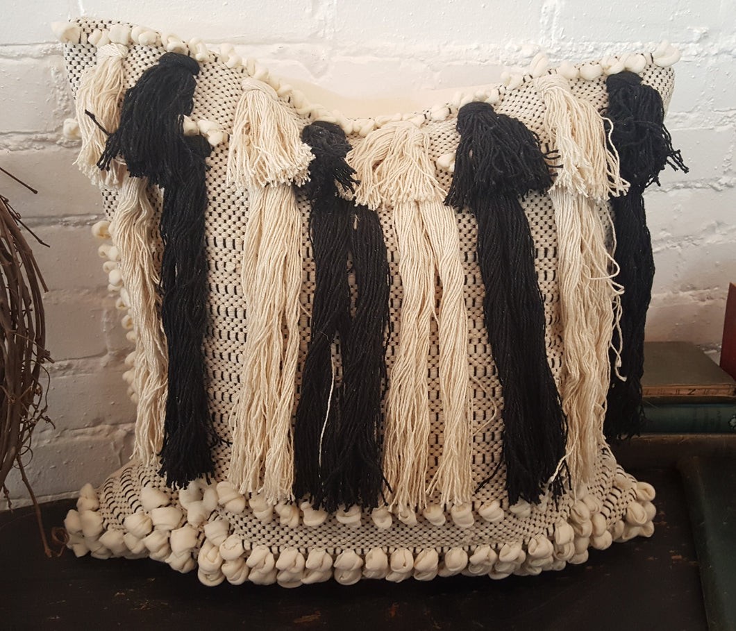 Black/Ivory Fringe Pillow