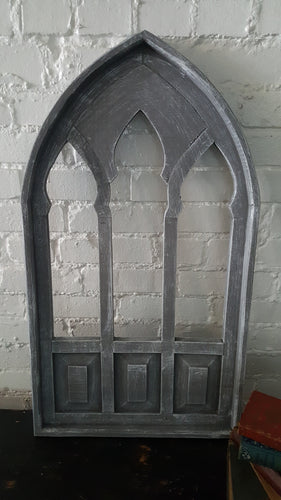 Gray Wood Window Arch Temple