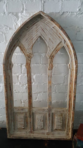 X-Large Ivory Wood Window Southern Arch