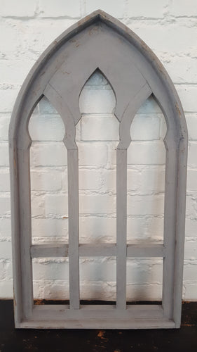X-Large Gray Wood Window Southern Arch