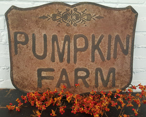 "Embossed Metal ""Pumpkin Farm"" Sign"