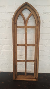 Medium Natural Brown Wood Window Arch 9 Pane
