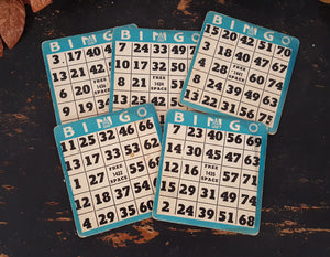 Antique Bingo Cards Blue/White