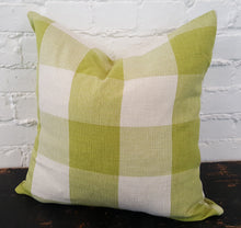 Load image into Gallery viewer, Lime Green/White Buffalo Check Plaid Pillow