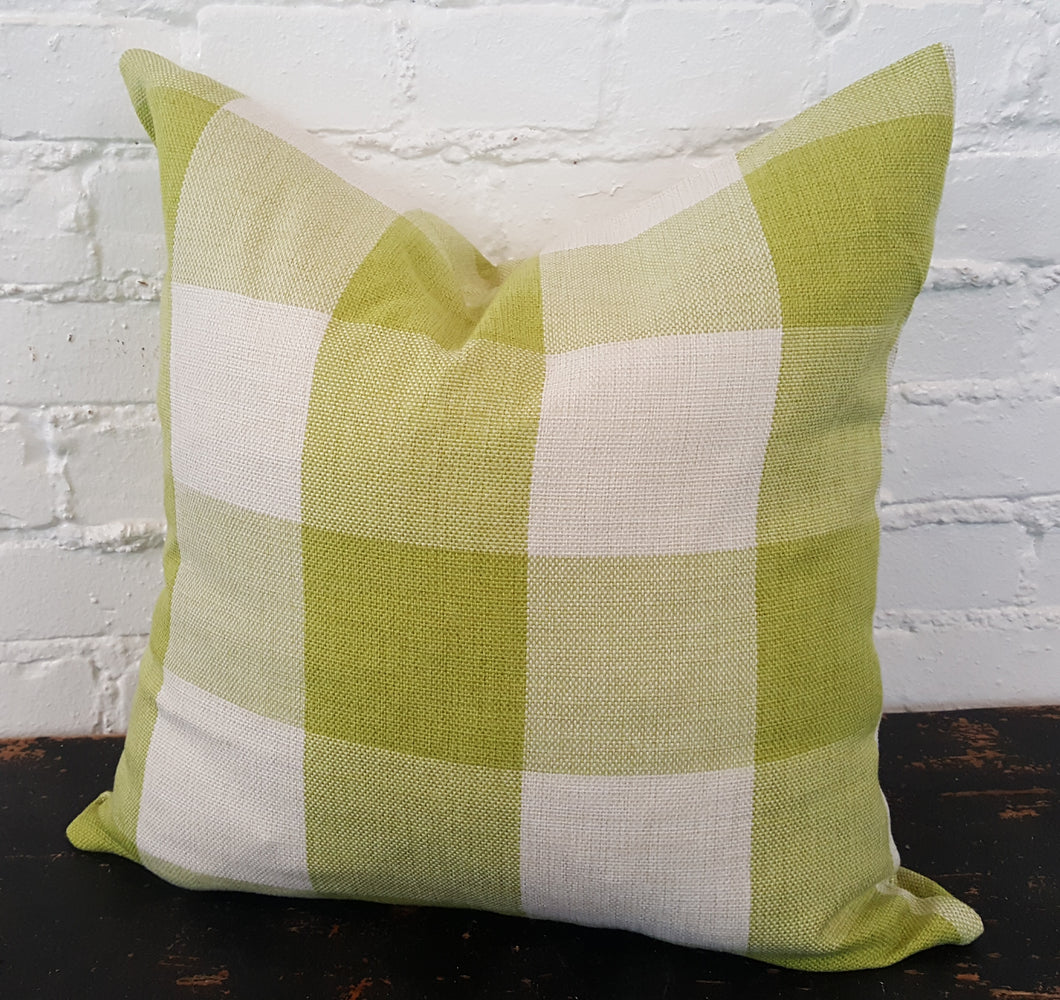 Lime Green/White Buffalo Check Plaid Pillow