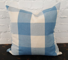 Load image into Gallery viewer, Blue/White Buffalo Check Plaid Pillow