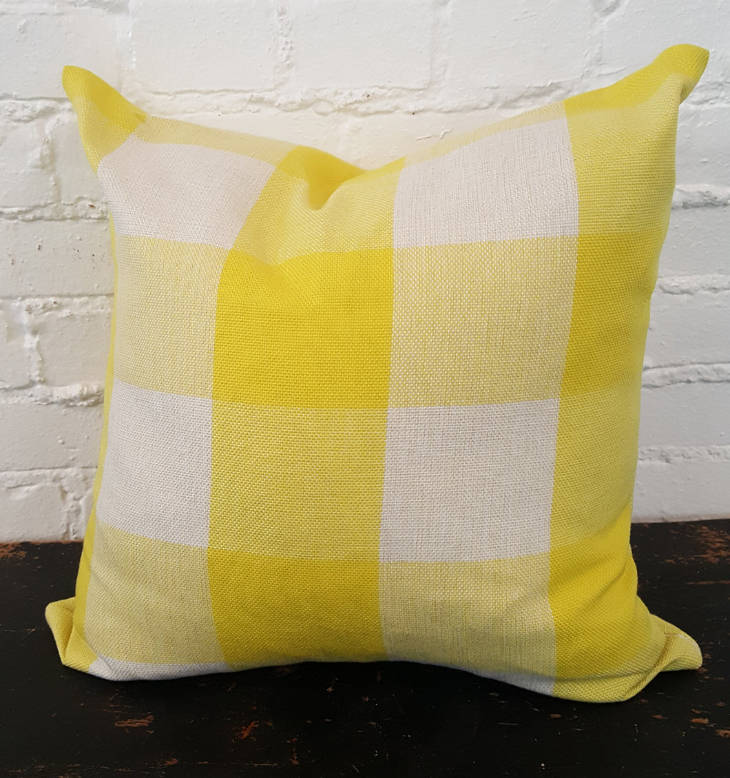 Yellow/White Buffalo Check Plaid Pillow