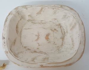 Small Cream Wood Dough Bowl