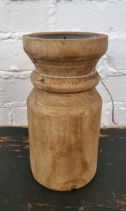 "8"" Round Wood Candle Holder"