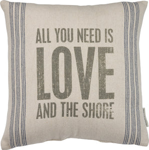"Beach Cottage ""Love and Shore"" Pillow"
