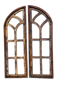 Large Set of Cathedral Brown Wood Window Arches